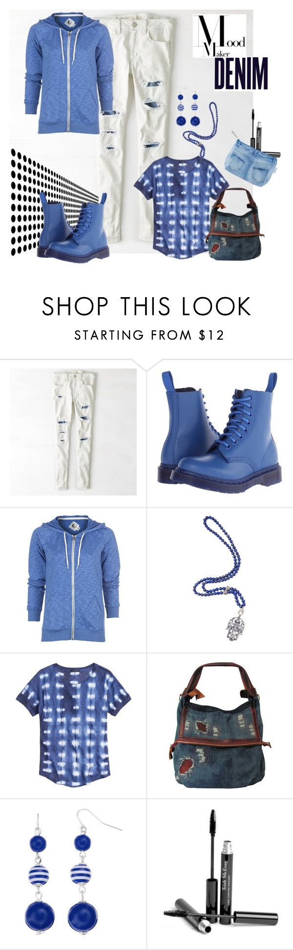 """""""Moodmaker Denim"""" by armband ❤ liked on Polyvore featuring American Eagle Outfitters, Dr. Martens, Volcom, CB Bronfman, J.Crew, AmeriLeather, Croft & Barrow, Alima, Trish McEvoy and Catseye London"""