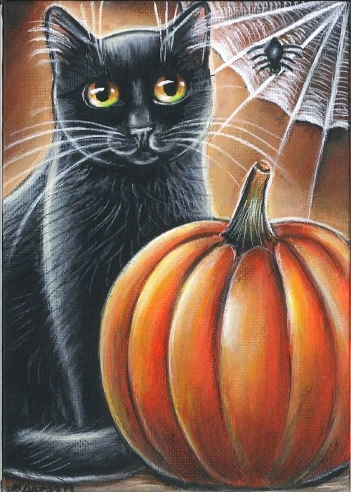 Black Cat Halloween Painting