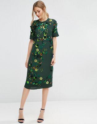 ASOS   ASOS Emerald Embellished Shift Midi Dress