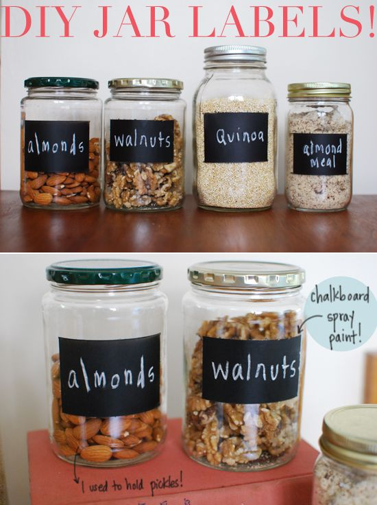 DIY chalkboard spray paint jar labels for the jars! Perhaps with green chalk? inspiredtoshare