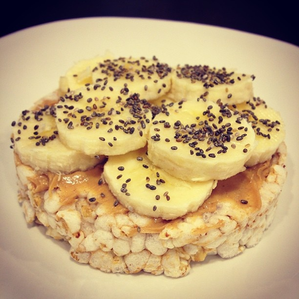 My favorite healthy snack! Organic brown rice cakes topped with organic almond butter, bananas and chia seeds!