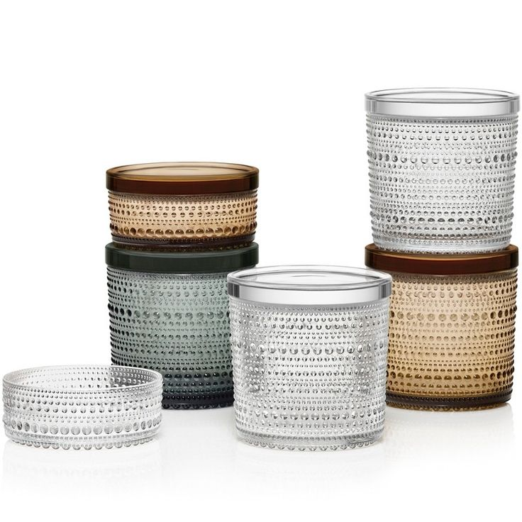 Kastehelmi, coloured jars, grey, desert & clear, beautiful colours & design to last a lifetime an Iittala classic.