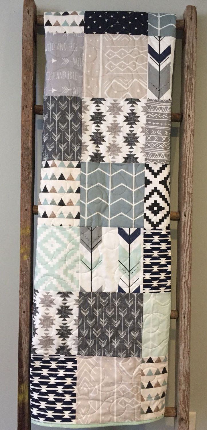 Tribal Wild and Free Baby Quilt, Aztec Mudcloth Baby Quilt, Neutral Baby Quilt, Tribal Nursery, Tribal Crib Bedding, Navy Gray Beige Mint by 31RubiesQuiltStudio on Etsy