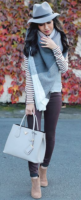 Plaid On Stripes Fall Street Style Inspo by Extra Petite