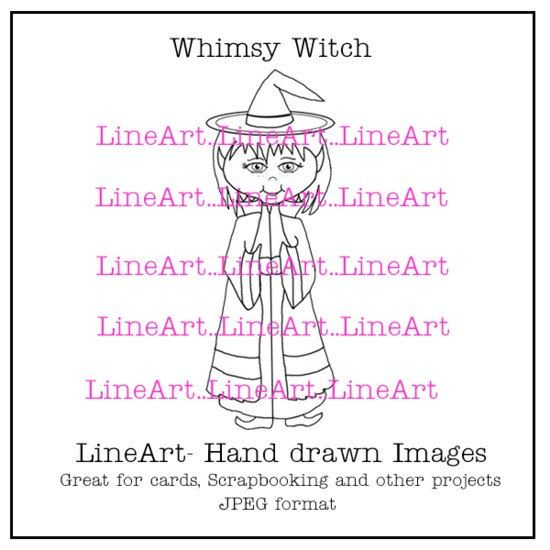 Whimsy Witch Handdrawn LineArt  Instant Download by Beauladigitals
