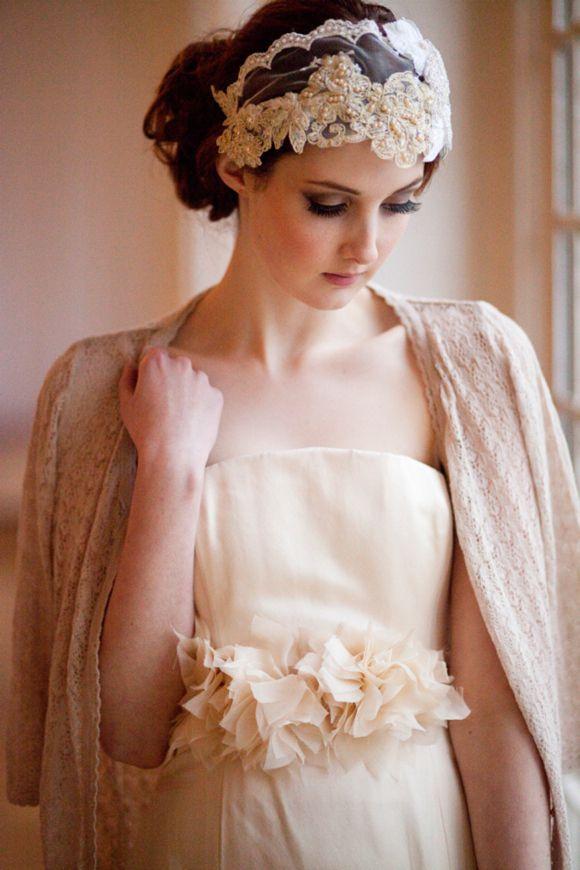 Millesime Vintage Milliners Lace and Velvet Bridal Cap♥
