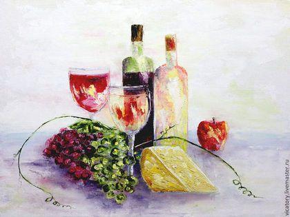 Картина 'Красное и белое. Вино.' Red and white. Wine. Still Life by Victoria Sokolova oil, canvas, 30*40, 2014