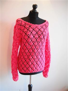 how to crochet pink pullover sweater video tutorial free pattern - Media - Crochet Me