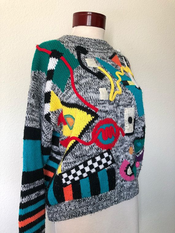011c1f20cad9 Vintage abstract geometric sweater 1980s 1990s