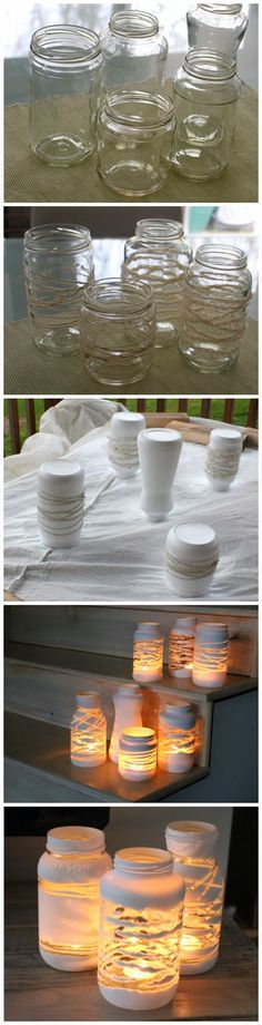 yarn wrapped painted jars: wrap string around clean jars or glasses. spray with paint in your choice of colors (flat white or whatever you prefer), let dry, remove the string or yarn, add a candle, enjoy!