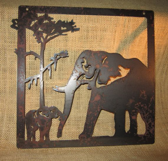 Elephants-Metal Art-Safari Art-Home Decor on Etsy, $20.00