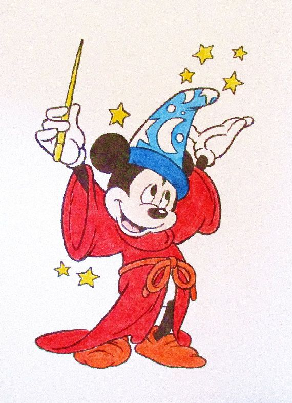 Mickey Mouse Magician Card: Add a Greeting or Leave Blank   Etsy in 2021   Mickey  mouse sketch, Mickey, The magicians