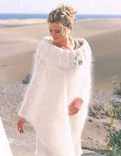 Hand Knit White Mohair Poncho With Floral Embellishments.Made to Order | #tvkstyle - Knitting on #ArtFire