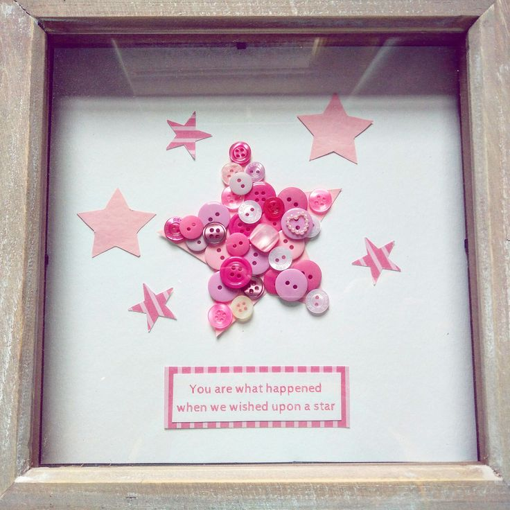 """You are what happened when we wished upon a star"" Perfect gift for a new arrival. Can be ordered in range of colours and personalised with names/dates. Frame 8""x8"" £15"