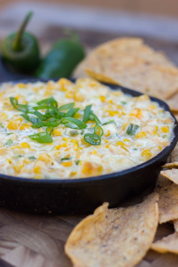 Hot Jalapeño Corn Dip - Jalapeños, sweet corn, and monterey jack cheese in one hot skillet of dip.