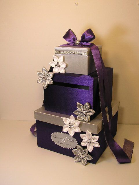 Purple and Silver Wedding Card Box Gift Card Box by bwithustudio, $99.00