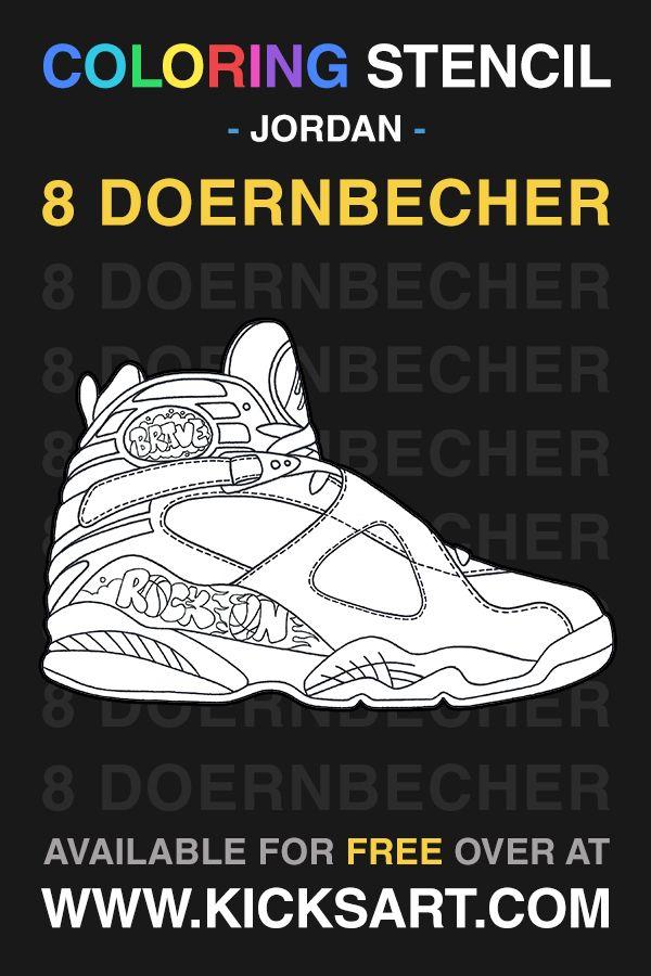 Air Jordan 8 Doernbecher Sneaker Coloring Page Air Jordans Sneakers Sneaker Art