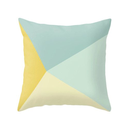 Teal and yellow cushion cover teal and yellow throw by LatteHome
