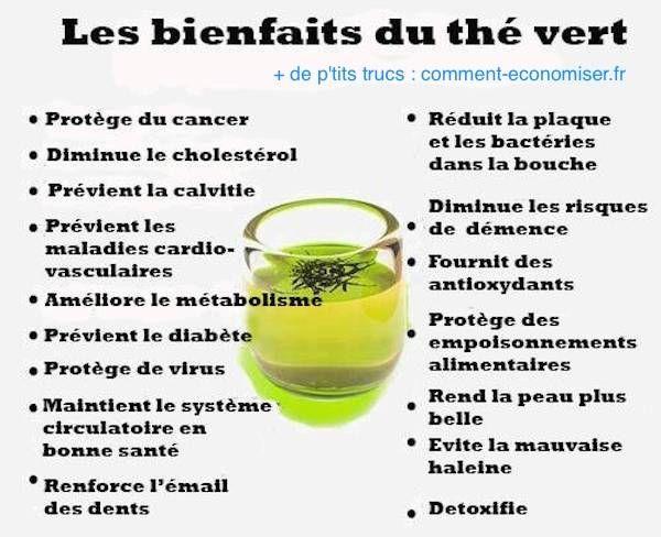 Vous voulez préserver votre santé et être en meilleure forme ? Notre astuce pour être en forme est de boire 2 tasses de thé vert chaque jour car le thé vert possède de nombreuses vertus pour votre santé.  Découvrez l'astuce ici : http://www.comment-economiser.fr/16-bienfaits-the-vert-sante.html?utm_content=buffer28104&utm_medium=social&utm_source=pinterest.com&utm_campaign=buffer