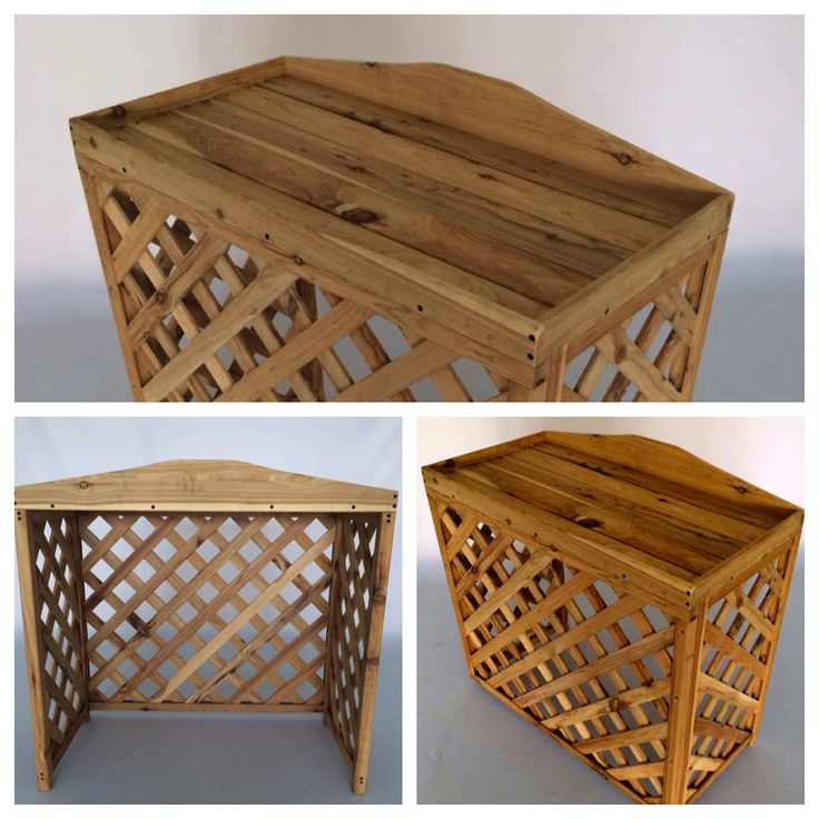 Aircon unit cover.  Made in hard, durable Australian Cypress renowned for its rot and termite resistance.  $80 at factory. Packed in box with simple hardware for easy assembly.