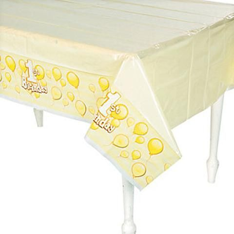 Yellow 1st Birthday Tablecover / Tablecloth