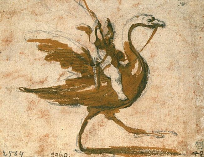 Cupid riding on a swan | Jacques Callot | Nationalmuseum, Sweden | CC BY-SA