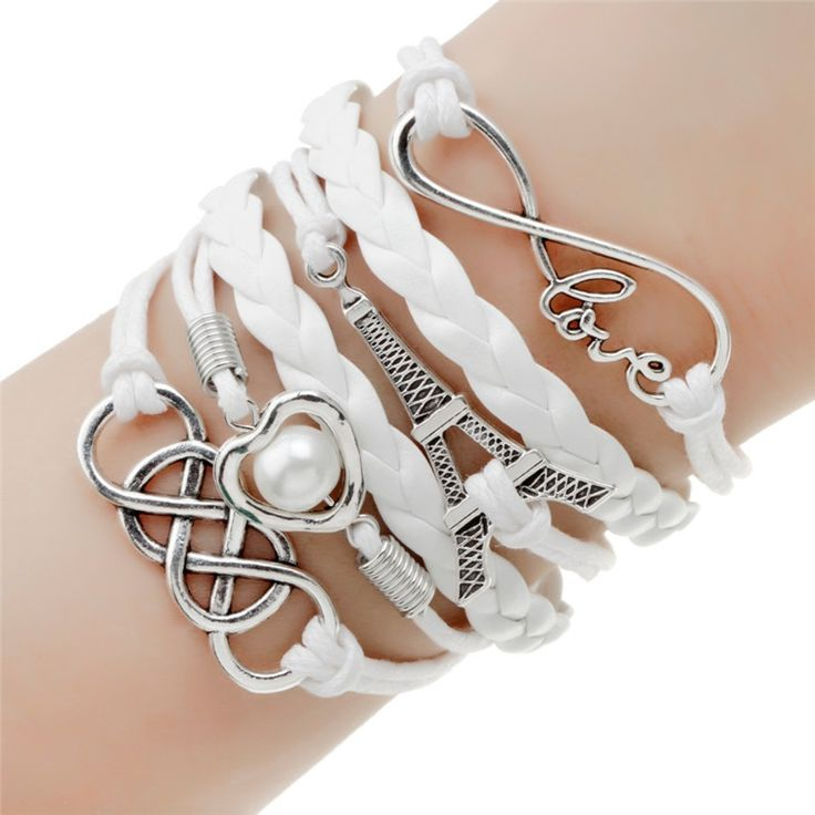 Leather Bracelet Double Infinite Multilayer Charm //Price: $7.99 & FREE Shipping //     #earrings #ring
