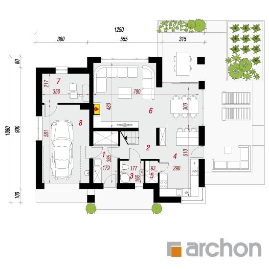projekt Dom w orliczkach rzut parteru