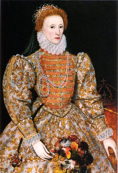 エリザベス1世(ユリウス暦1533年9月7日 - 1603年3月24日)  イングランドとアイルランドの女王(在位:1558年 - 1603年)。テューダー朝第5代[nb 1]にして最後の国王。別名は処女王(the Virgin Queen)、グロリアーナ(Gloriana、「栄光あるもの」の意)、よき女王エリザベス(Good Queen Bess)。ヘンリー8世の王女として生まれたが、エリザベスの出生2年半後に母のアン・ブーリンが処刑されたため、彼女は庶子とされた。弟のエドワード6世はジェーン・グレイへの王位継承に際して姉たちの王位継承権を無効としている。続くカトリックのメアリー1世の治世ではエリザベスはプロテスタントの反乱を計画したと疑われて1年近く投獄されたものの、1558年にメアリー1世が死去すると王位を継承した。
