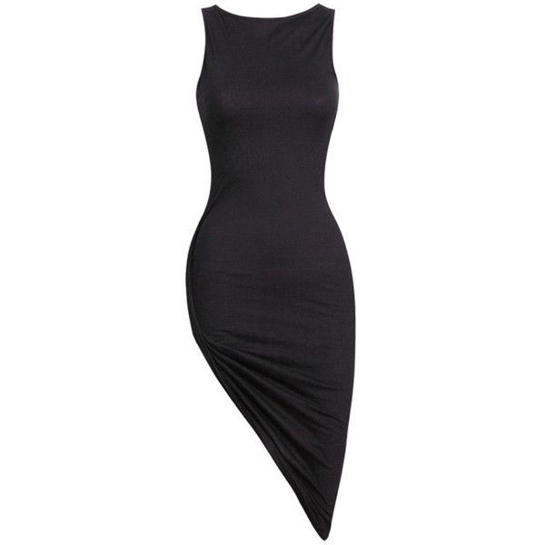 Choies Black Sleeveless Basic Slit Bodycon Dress featuring polyvore, fashion, clothing, dresses, black dress, black body con dress, black sleeveless dress, kohl dresses and body conscious dress