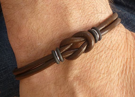 Bracciale in pelle Mens Brown Silver e il di siriousdesign su Etsy