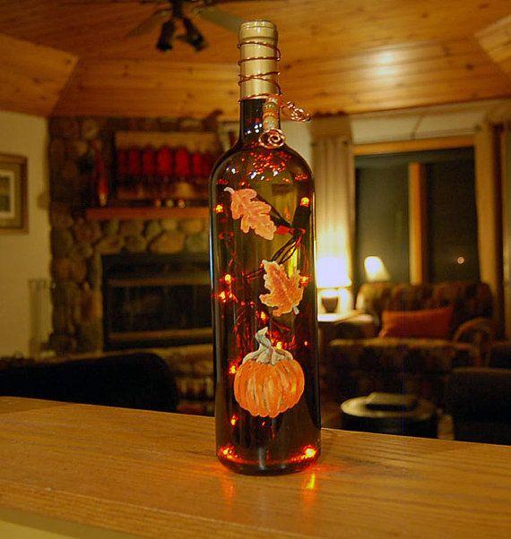 Wine bottle light, orange, pumpkin, autumn leaves, fall decor, Thanksgiving decor via Etsy