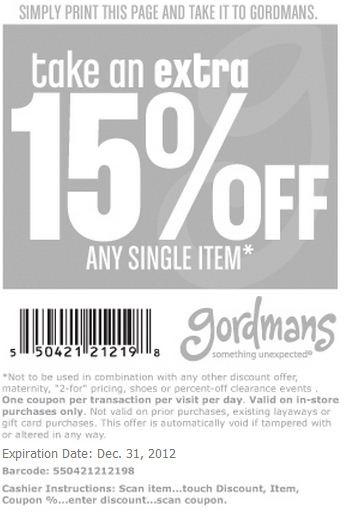 Gordmans   Extra 15% off any single item