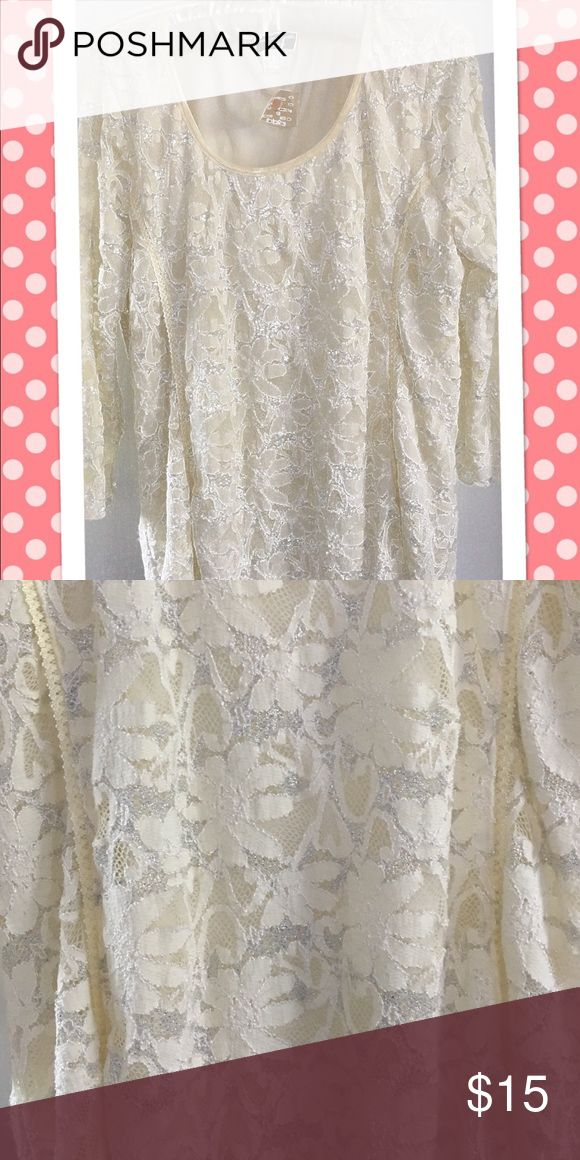 Women's retro lace cream/silver shirt Retro with tags cream and silver lace brittany black  Tops