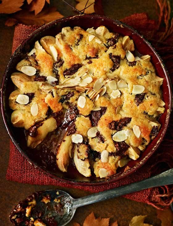 Pear, ginger and chocolate cobbler. Fruit and spice make this pudding too tempting to resist as an Easter dessert.