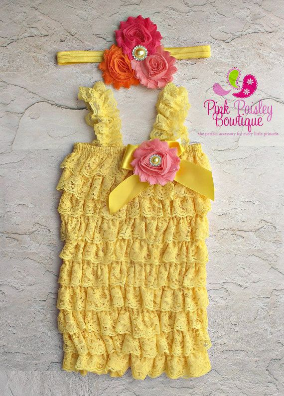 Baby Girl 1st Birthday Outfit - Petti Lace Romper- Ruffle Rompers - Baby Romper - You are my Sunshine Birthday Outfit - Yellow Petti Rompers by Pinkpaisleybowtique, $34.99