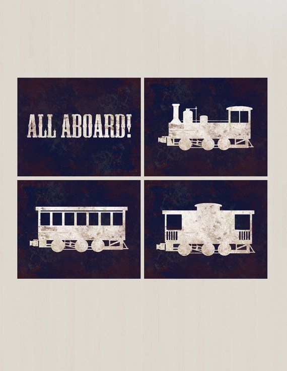 Vintage train, railroad crossing and train words prints. Perfect for the train lover in your life or for your little conductor-in-trainings nursery