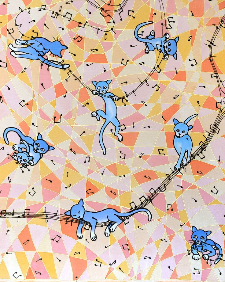 silk scarf 90cm x90cm: blue cats dismantling the music  (hand painted on 100% silk by Jani Nanavati)  . . .  #cat #cats #silk #scarf #art #handmade #handpainted #painted #original #music #musical #notes