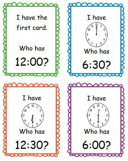I have...Who has...? Easy to create myself with clock face stamp. Alter to quiz quiz trade.