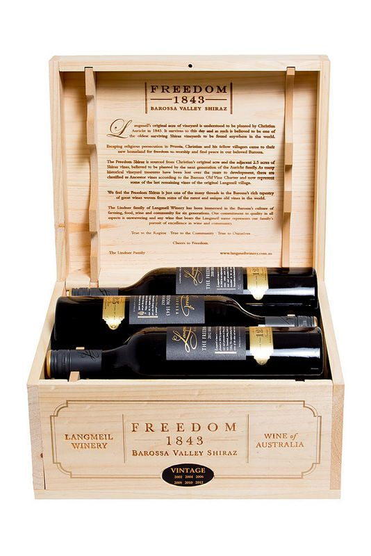 Barossa Wine Chapters Auction 2015: Live Auction Lots  Lot 19L  Langmeil  The Freedom 1843 Shiraz six bottle set. One bottle each of the following vintages: 2002, 2004, 2006, 2008, 2010, 2012. 750ml Bottle