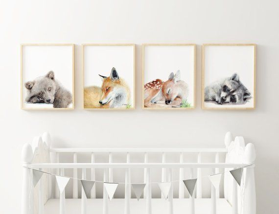 bed in a wall design woodland bedroom decor forest themed.htm woodland animals nursery art prints  set of 4  sleeping animals  woodland animals nursery art prints