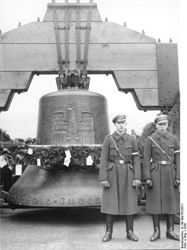 The 1936 Olympic Bell, Berlin, Germany, Aug 1936, photo 2 of 2