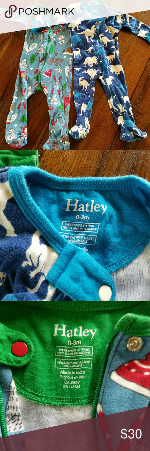 2 Hatley Sleepers Total two! 0 to 3 month sleeper with zipper. Each only worn a few times. Excellent condition with no stains. Hatley Pajamas Pajama Sets