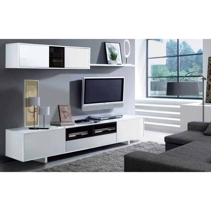Meuble tv belus meuble tv mural 200 cm noir blanc meuble for Meuble mural noir brillant