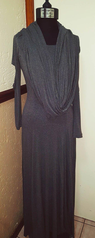 Slub Maxi Dress with Scarf attached by BetrendByAdele on Etsy