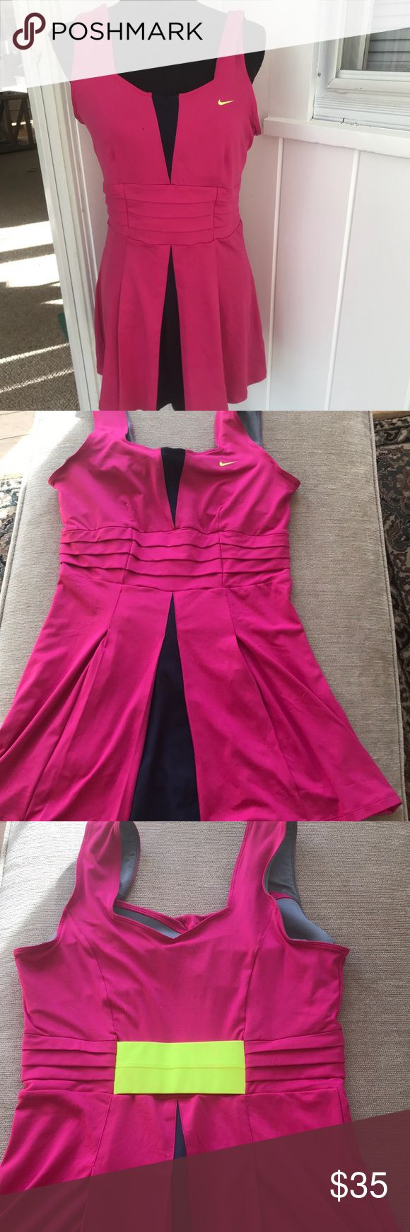 """Serena Williams Nike tennis dress Dri-fit. Size Large. . Built in bra.  EUC.  Pink and navy.   17"""" Pit to Pit 30"""" long from top of shoulder. Nike Dresses Mini"""