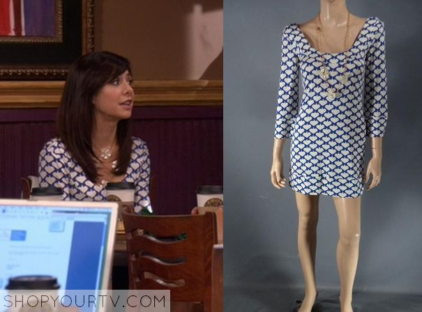 Lily Aldrin (Alyson Hannigan) wears this blue and white printed bodycon dress in this episode of How I Met Your Mother (HIMYM). It is from Diane Von Furstenberg. Sold Out.