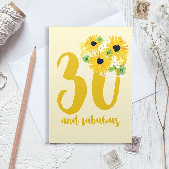 A beautiful posy of yellow flowers adorn this pretty 30th birthday card. Bright yellows and soft whites make this a stand out bouquet!  Can be personalised with any name and age or even with mum sister etc.  What to do: Just add your names and age to the note to seller section at purchase.  This A6 card is printed on 340gsm stock and comes with a white or brown envelope packaged in a cellophane sleeve.  Find this design as part of set of other greetings cards perfect for everyday well wishes…