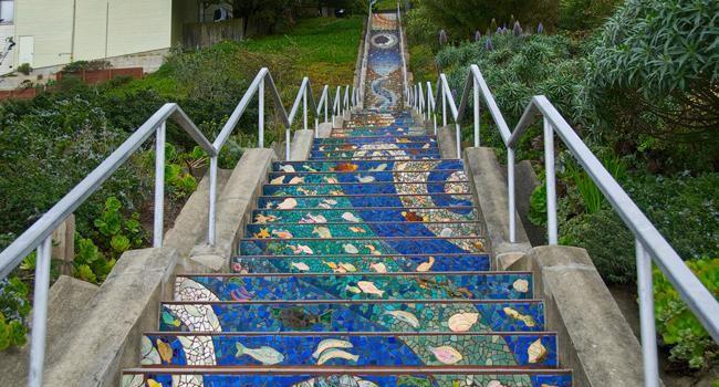 Climb San Francisco 16th Ave Tiled Steps - viva la hills!San Francisco, Vertical Oasis, Inner Sunsets, Nice Mosaics, Moraga Step, Mosaics Step, San Francisco, San Francisku, Francisco 16Th