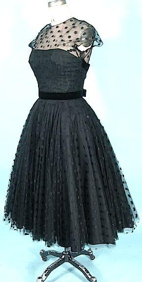 1950's HARVEY BERIN Designed by KAREN STARK Black Dotted Swiss Net Dress